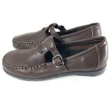 Dexter Women's Brown Leather Mary Jane T Strap Comfort Buckle Moc Toe Shoes 8 M