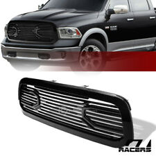 For 2013-2019 Dodge Ram 1500 Glossy Blk Big Horn Front Hood Bumper Grill Grille
