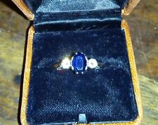 VINTAGE 70's /80'S 18ct gold diamond & sapphire trilogy ring