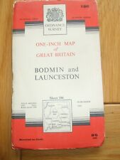 ANTIQUE MAP 1961 BODMIN LAUNCESTON CORNWALL CLOTH ORDNANCE SURVEY SHEET 186
