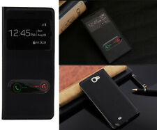 Leather Battery Cover Slim S-VIEW Flip Case For Samsung Galaxy Note 2 N7100 BK