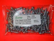 """(Qty 100) 10 x 3/4"""" (5 x 20mm) SPAX Pan Head Unidrife Screw Zink Plated"""