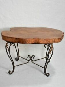 """Mid-century brutalist tree trunk coffee table on wrought iron base 17"""""""