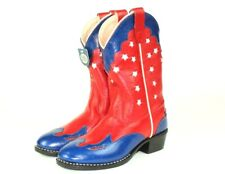Jama Old West Youth Cowboy Leather Boots NWT Sz 10 Red Blue Stars