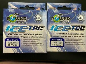 Power Pro, Ice-Tec, PTFE-Coated Ice Fishing Line, Blue, 10 lb., 50 yd., Lot of 2