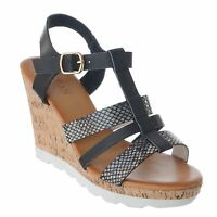 WOMENS LADIES CHUNKY STRAPPY CORK WEDGE HIGH HEEL ANKLE STRAP SANDALS SHOES SIZE