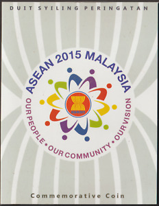 (A228)MALAYSIA 2015 ASEAN 2015 SUMMIT $1 COIN IN FOLDER. ISSUE RM10 ISC CAT 35