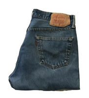 VINTAGE LEVI'S 501 JEANS BLUE DENIM W 35 L 32 BUTTON FLY A1 CONDITION (65)