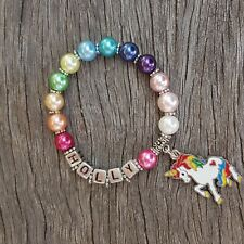 Girls Personalised Name UNICORN Pony Horse Rainbow Colours Kids Bracelet Jewelry