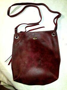 Roots Canada Genuine Leather Crossbody Sling Bag Adjustable Strap Burgundy