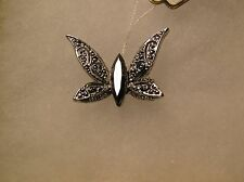 Vintage Silver Tone Butterfly Brooch Black Marquise Center Stone