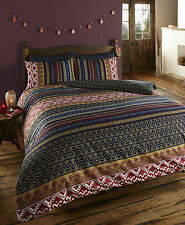 DOUBLE BED REVERSIBLE ETHNIC INDIAN MULTI COLOURED PATTERNED DUVET COVER SET