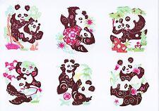 Handmade Chinese Paper Cuts Pair Panda Set 10 small colorful pieces Zhou