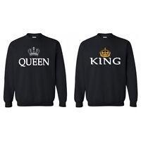 Couple T-shirt Hoodies King and Queen Sweatshirt Men Women Pullover Blouse Tops