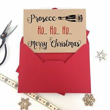 6 Luxury kraft christmas cards PROSECCO HO HO HO FUNNY ADULT envelopes