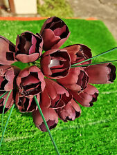 Tulip Bouquet Wooden Flowers Holztulpen Artificial Birthday Augergine Purple