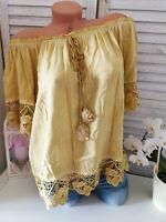 Tunika Bluse Shirt Gelb Senf S M L 38 40 42
