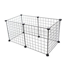 Pet Cage Hamster Dog Small Animal Playpen Metel Run Fence 6 Panels/Set Black