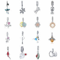 Authentic 925 Sterling Silver CZ Charm Beads Dangle Pendant Fit Bracelet Chain