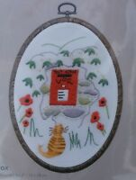 DMC Embroidery Kit - Traditional Post Box with Ginger Cat, Frame Included, NEW!