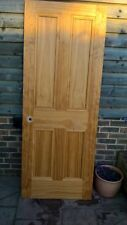 six interior doors, various sizes and styles, in matching natural wood finish