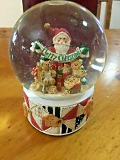 San Francisco Music Box Company Snow Globe Christmas Santa Teddy in Box works