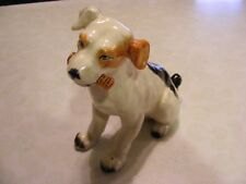 "VINTAGE PORCELAIN DOG FIGURINE WITH BONE IN ITS MOUTH 5.25"" TALL"