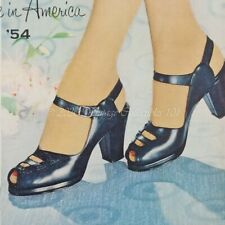 1954 Red Cross Shoes Chateau leather fashion pumps photo art decor vintage ad
