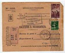 "A4759) FRANCE 1938 Reg Cover ""Valeurs a Recouvrer"""