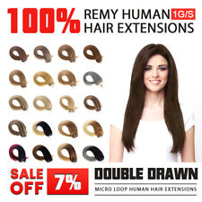14''-24'' Double Drawn Micro Loop Beads Ring Human Remy Hair Extensions 1g/s UK