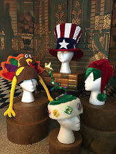 Holiday Set of 4 Hats from Elope Tree Elf Turkey Patriot Dress up Costume