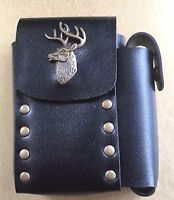 King Size Leather Look Cigarette Pouch And Lighter Holder Stag Design Quality