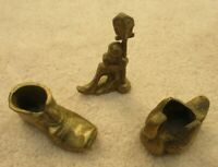 Three Small Vintage Brass Figurines: Swan, Shoe and Drunken man with lamppost