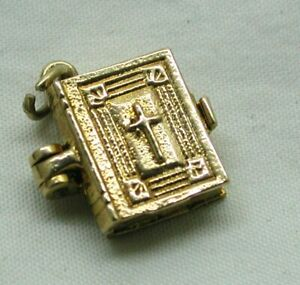 1970's Vintage 9 carat Gold Bible Charm With The Lords Prayer /Lords my Shepherd