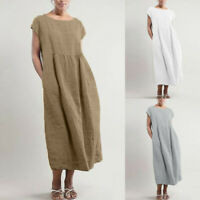Womens Summer Linen Loose Plain Sleeve Party Maxi Boho Beach Long T-Shirt Dress