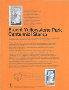 #7201 8c Yellowstone Park Stamp #1453 Souvenir Page w/Parsons Watermark Rare