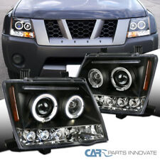 For Nissan 05-12 Xterra LED Halo Projector Headlights Driving Head Lamps Black