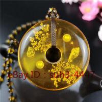 Natural Orange Amber Beetle Pendant Necklace Fashion Charm Jewelry Amulet A8