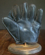 "Sweet Early Old Antique 1920's 1"" Web Black Leather Baseball Glove Vintage LQQK"