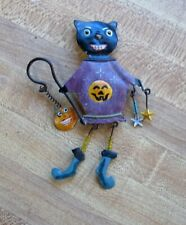 Vintage Hand Made Halloween Brooch Pin Tin