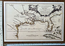 """Historic Antique Vintage Old MAP 1600's: Gulf of Mexico 1683: 12.5 X 9"""" Reprint"""