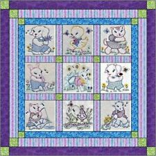 Quilt Kit Classic Baby Girl quilt w backing Finished Embroidery Blocks