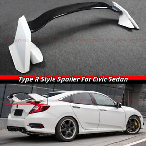 FOR 16-2021 HONDA CIVIC 4 DOOR SEDAN 2 TONE WHITE BLK TYPE R STYLE SPOILER WING