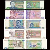 Set of 5Pcs Burma Myanmar 15 35 45 75 90 Kyats,P-62,63,64,65,66,no pinholes,UNC