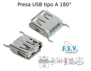 Connettore USB presa femmina tipo A da circuito stampato a saldare da pannello