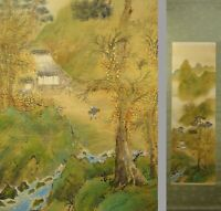 UK960 Autumn Farmhouse Landscape Hanging Scroll Japanese Art Asian painting