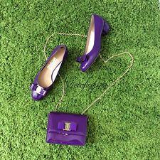 NWT Salvatore Ferragamo Purple Patent Leather Ginny Crossbody Bag