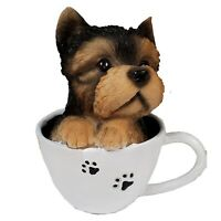 Yorkshire Terrier Puppy in Paw Print Coffee Cup Figurine Yorkie Dog Pet New