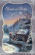 The Church Yard Thomas Kinkade Christmas Card w/ Message, Christ - Not Postcard