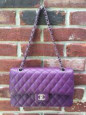 CHANEL Purple Caviar Leather 2.55 Double Flap Silver Hardware Bag * RARE!